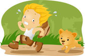 Kid Being Chased by a Lion Cub — Stock Photo