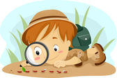 Kid Observing Ants — Stock Photo