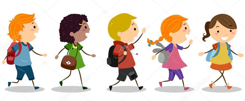 niños van a la escuela — Foto stock © lenmdp #10117988