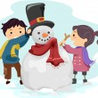 Kids Making a Snowman — Stock Photo