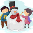Stock Photo: Kids Making a Snowman