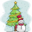 Snowman Christmas Tree - Stockfoto
