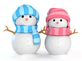 Couple Snowmen — Stock Photo