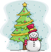 Snowman Christmas Tree — Stockfoto