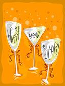 New Year Wineglass — Stock Photo
