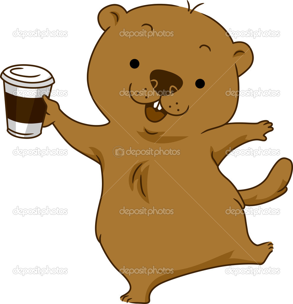 Illustration of a Groundhog Holding a Cup of Coffee — Stock Photo #8587083