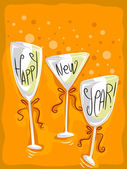 New Year Wineglass — Stock Photo