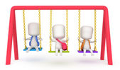 Kids Playing with Swings — Stock Photo