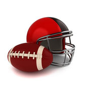 Footbal and Football Helmet — Stock Photo