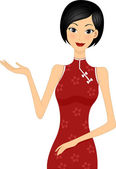 Girl wearing Cheongsam — Stock Photo