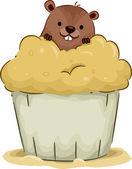 Groundhog Cupcake — Stock Photo