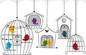 Ptaki w klatkach — Zdjęcie stockowe
