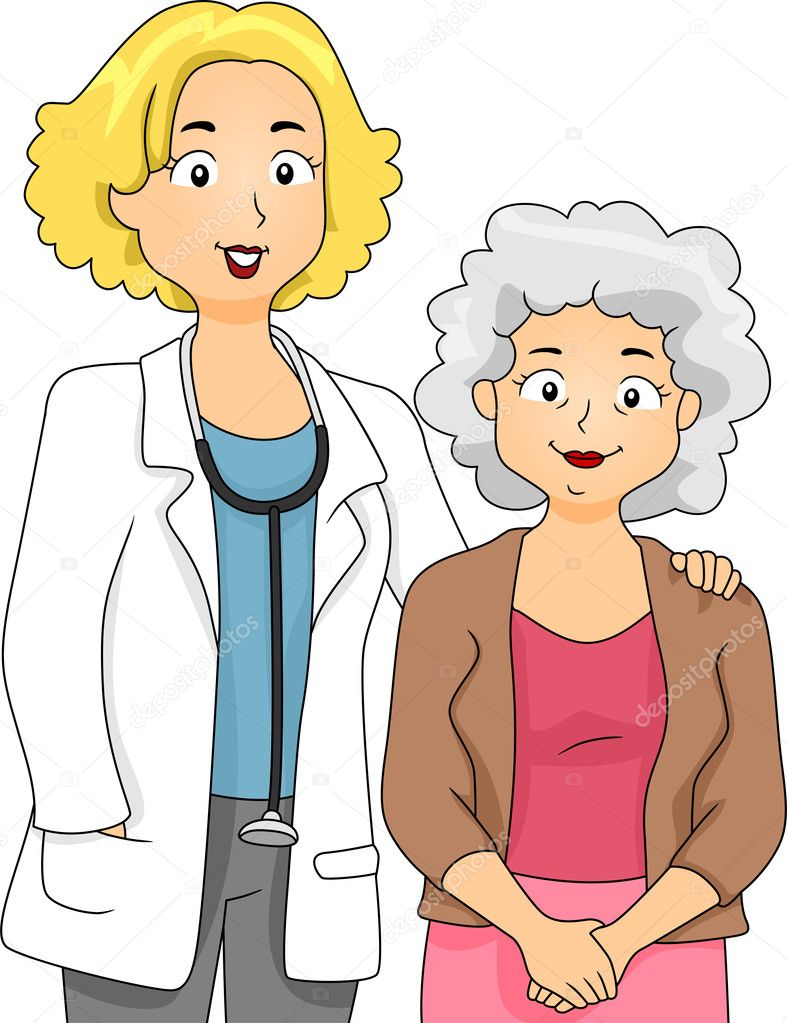 Illustration of a Doctor Standing Beside Her Patient — Stock Photo #8942816