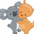 Koala and Kangaroo - Stock Photo