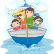 Family Traveling by Ship — Stockfoto