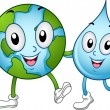 Stock Photo: World and Water Mascots
