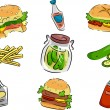 Hamburger and Pickle Icons - Stock Photo
