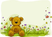 Toy Bear Foliage Background — Stock Photo