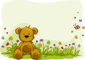 おもちゃクマの葉の背景 — ストック写真