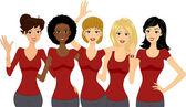 Mulheres vestindo vermelho no máximo — Foto Stock