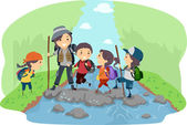 Campers Crossing a River — Stock Photo