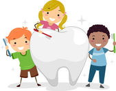 Kids Brushing a Tooth — Stock Photo