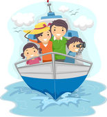 Family Traveling by Ship — Stock Photo