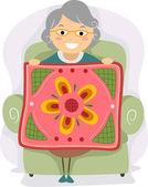 Großmutter quilt — Stockfoto