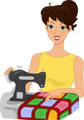 Quilting Girl — Stockfoto