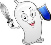 Preservativo brandindo uma espada — Foto Stock