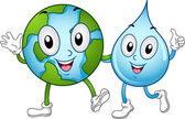 Mascotes do mundo e água — Foto Stock