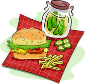 Hamburger and Pickle — Stock Photo