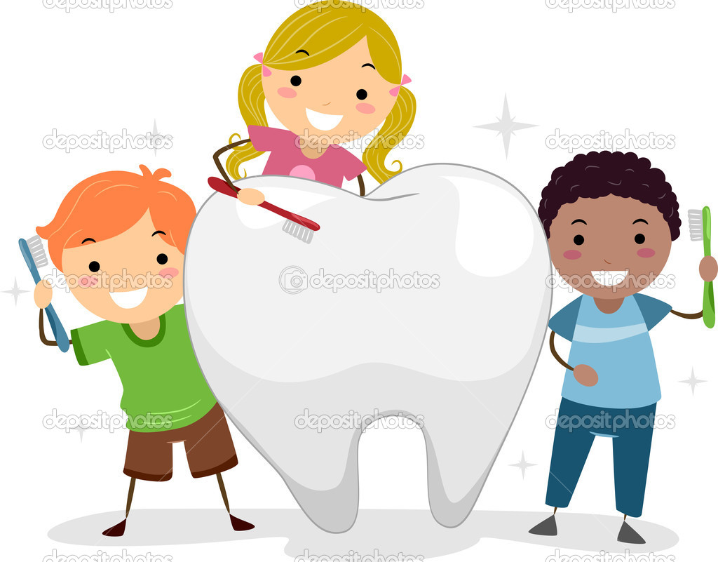 Kids Brushing a Tooth — Stock Photo © lenmdp #9548751
