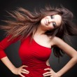 Woman with long  hair in motion — Foto Stock