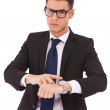 Business man showing you that you are late — Stock Photo
