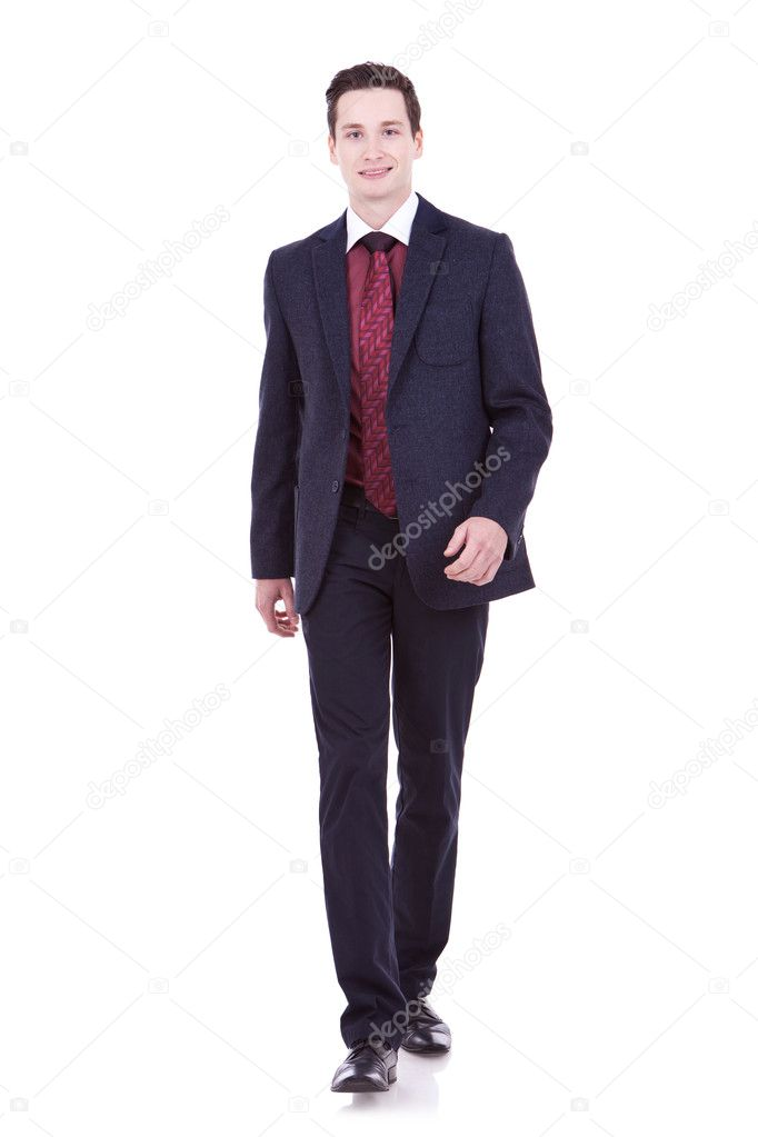 Full body portrait of walking business man, isolated on white background  Stock Photo #8403166