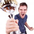 Stock Photo: Ecstatic young man winning
