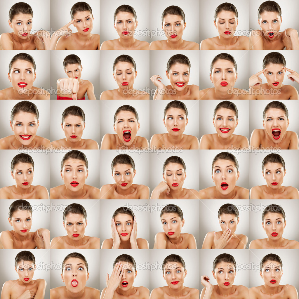 Young woman face expressions composite isolated on white background — Photo #8621754