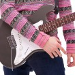 Closeup of a rock and roll guitarist — Stock Photo