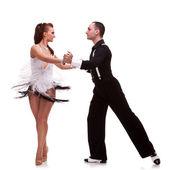 Young couple dancimg salsa — Stock Photo