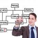 Business man draws a scheme for winners — Stock Photo
