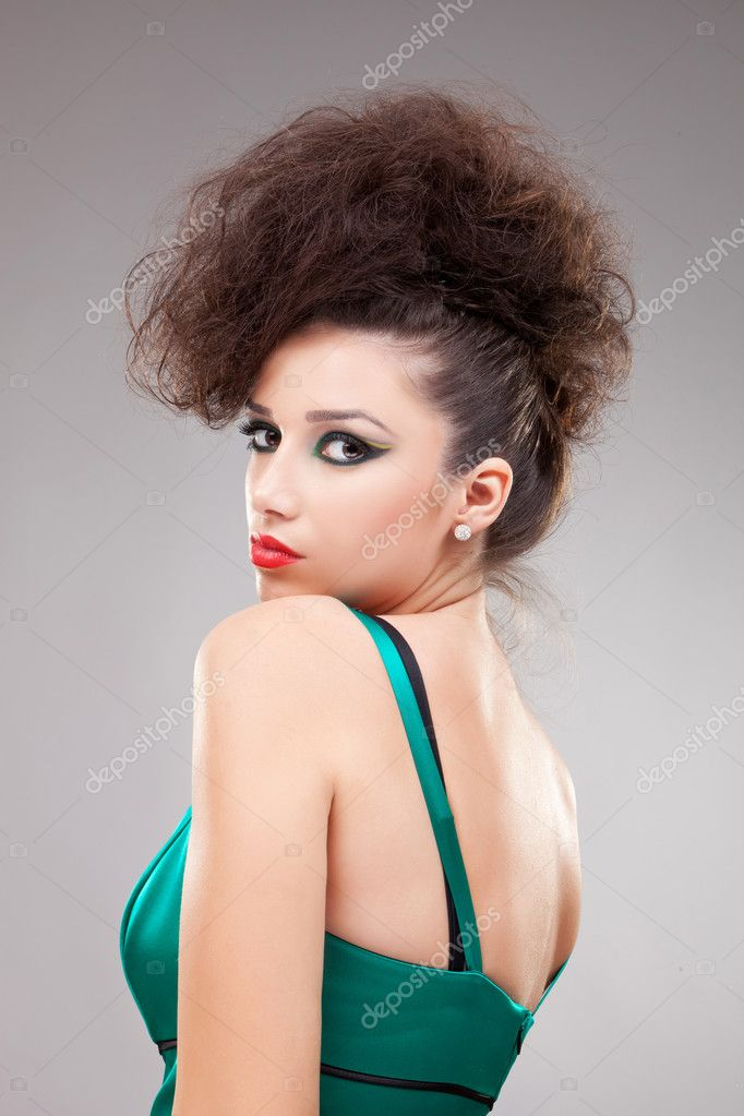 Beautiful sexy  fashion model woman on gray background  Stock Photo #9202196