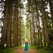 Woman walking in the fir woods — Stockfoto