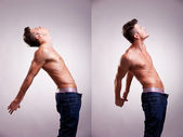 Two artistic portraits of young topless man — Stock Photo