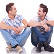 Two friends smiling to each other — Stock Photo