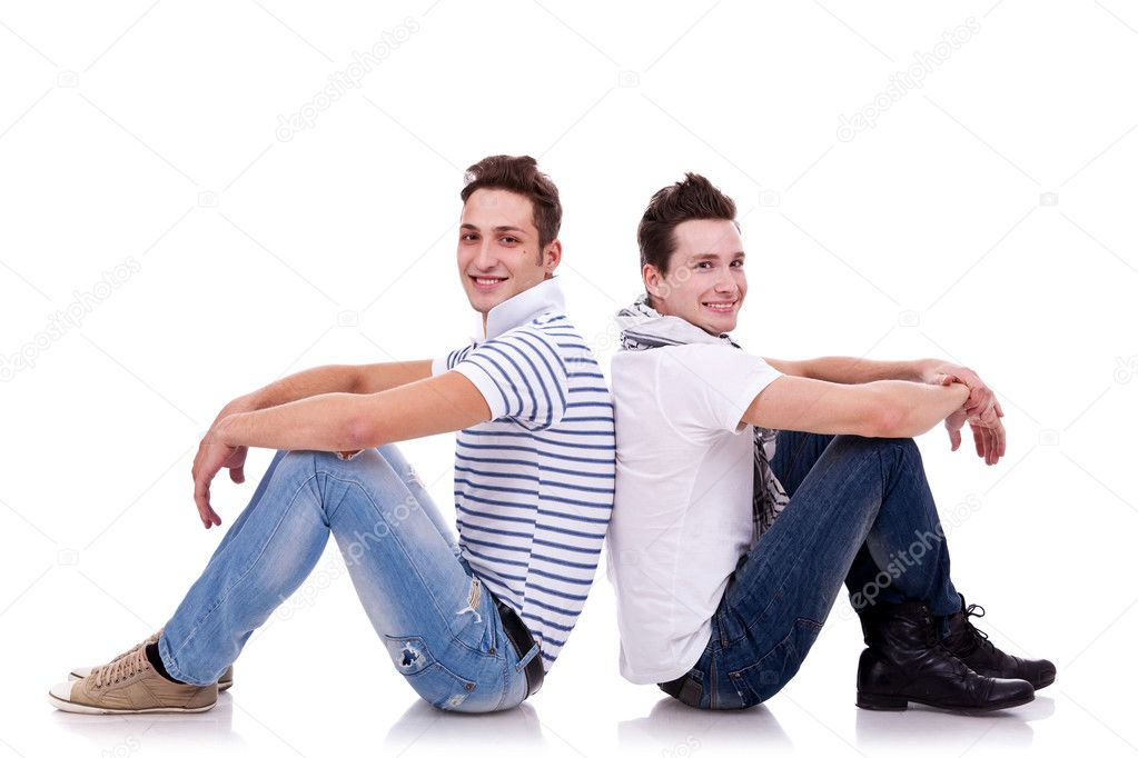 Two young casual men sitting back to back — Stock Photo © feedough ... Vintage Camera Backgrounds