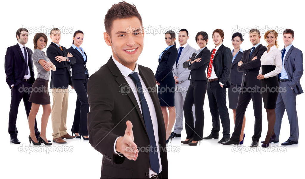 Isolated successful business team, focus on man with handshake gesture. young business man welcoming to the team  Stock Photo #9690708