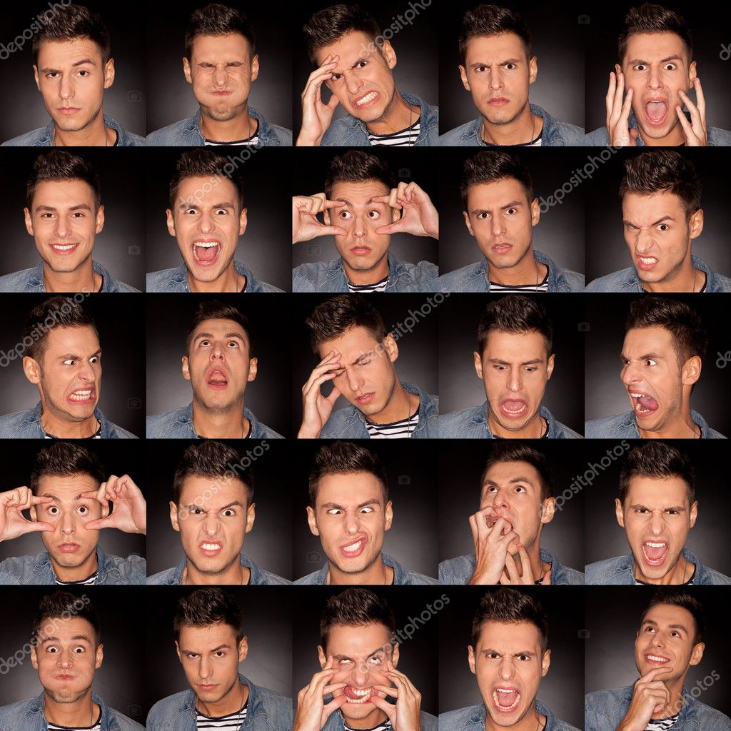 Young man face expressions composite on dark gray background . handsome young man making faces  Stock Photo #9807498