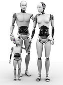 Criança, mulher e homem-robô. — Foto Stock