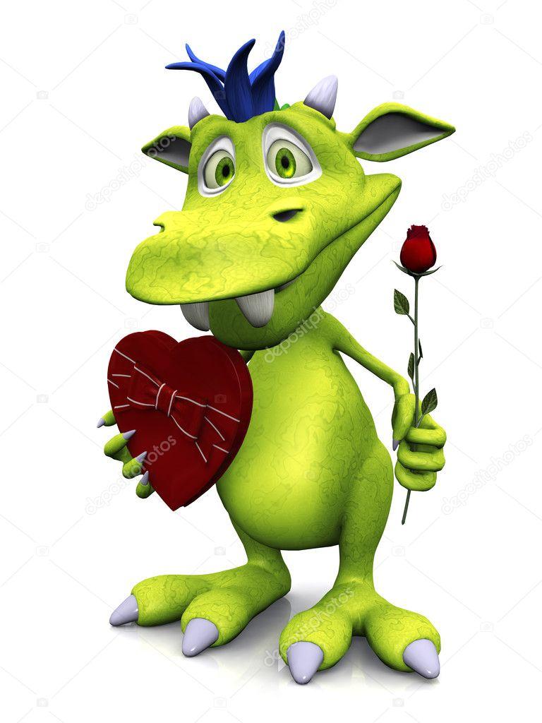 Mostro simpatico cartone animato holding rose e cioccolato
